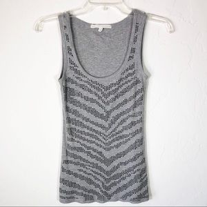 Almost Famous Ribbed Tank Top Black Metallic Studs